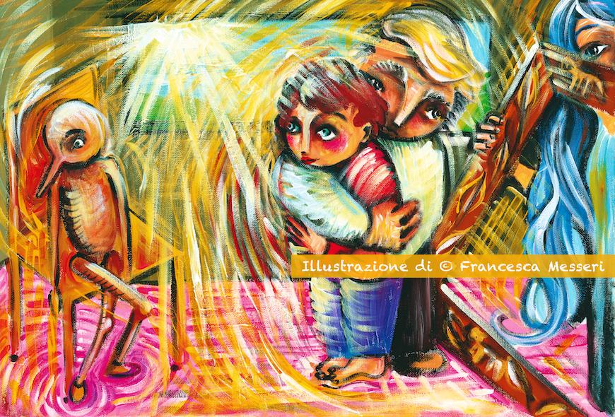 Pinocchio, diventato un bambino vero, guarda insieme a Geppetto, un burattino di legno appoggiato su una sedia